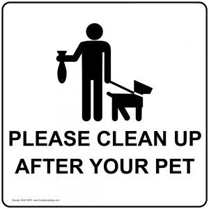 Dog owners are required by city ordinance to remove droppings from any area visited.